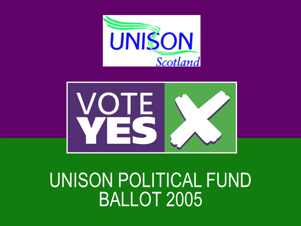 The Legal Context  Trade unions always involved in politics  1913 political objectives  1985 Tory ballots - all unions voted for  Confirm member support for our political funds every ten years  By law must have a political fund if wish to carry out political campaigning