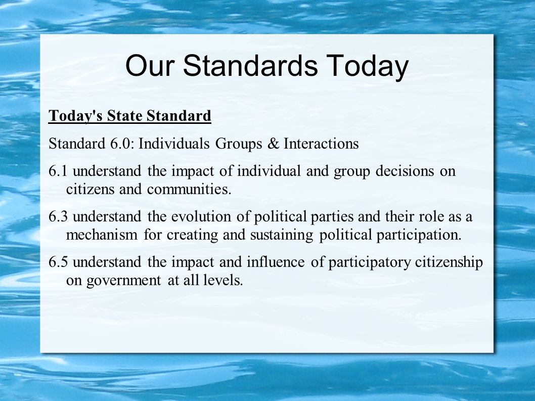 Our Standards Today Today s State Standard Standard 6.0: Individuals Groups & Interactions 6.1 understand the impact of individual and group decisions on citizens and communities.