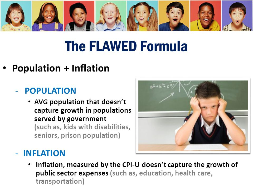 The FLAWED Formula Population + Inflation -POPULATION AVG population that doesn't capture growth in populations served by government (such as, kids wi