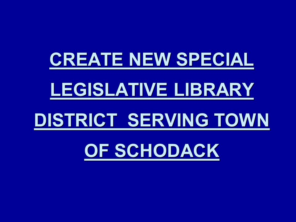 CREATE NEW SPECIAL LEGISLATIVE LIBRARY DISTRICT SERVING TOWN OF SCHODACK