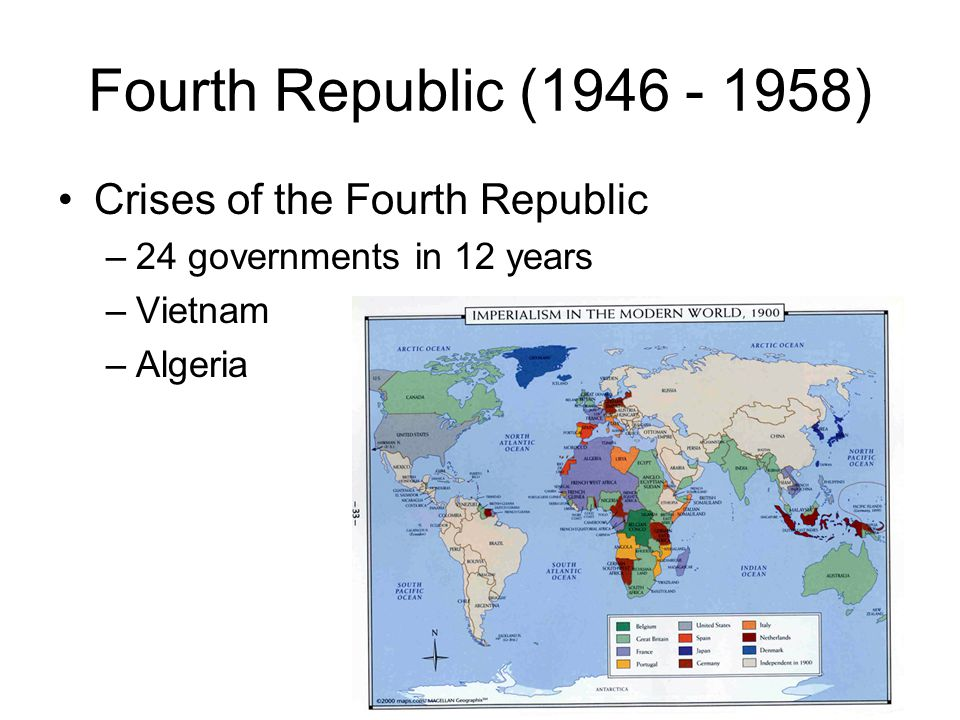 Fifth Republic (1958 - ) Charles de Gaulle submitted new constitution for public approval offered to remedy previous failings –power of the executive offices –president and prime minister –constraints on Parliament
