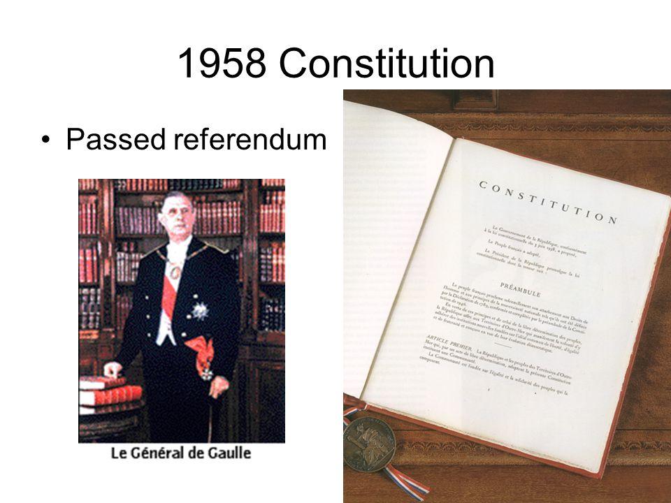 1958 Constitution Passed referendum