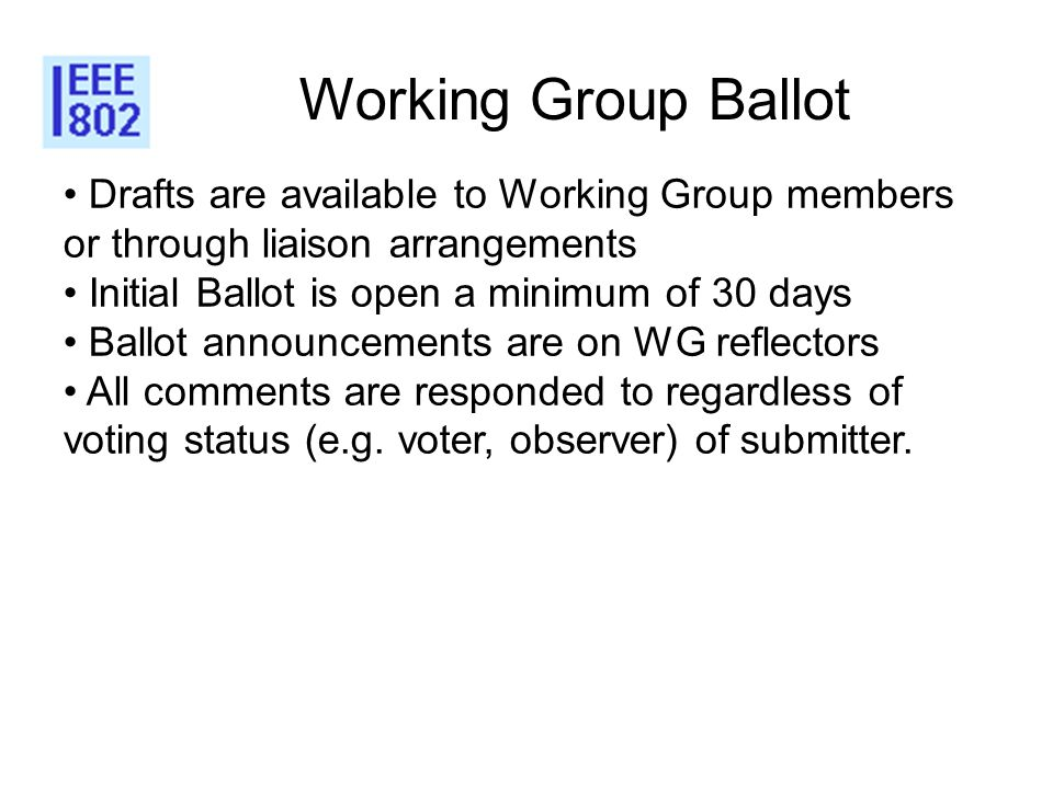 Working Group Ballot Drafts are available to Working Group members or through liaison arrangements Initial Ballot is open a minimum of 30 days Ballot