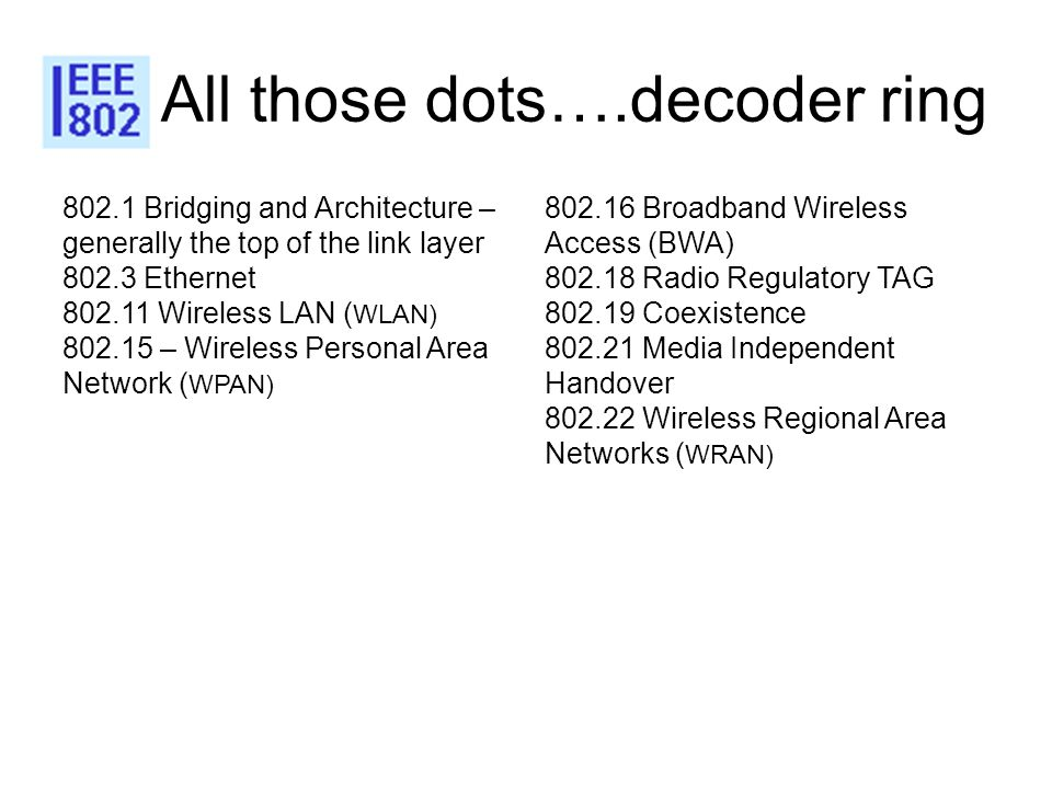 All those dots….decoder ring 802.1 Bridging and Architecture – generally the top of the link layer 802.3 Ethernet 802.11 Wireless LAN ( WLAN) 802.15 –