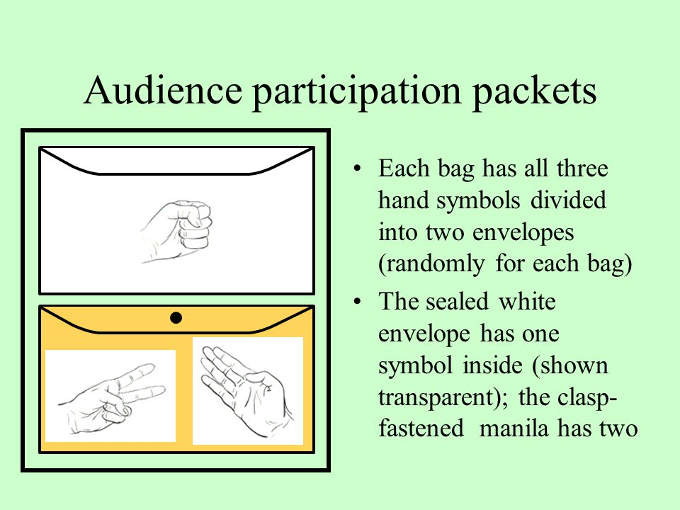 Audience participation packets Each bag has all three hand symbols divided into two envelopes (randomly for each bag) The sealed white envelope has one symbol inside (shown transparent); the clasp- fastened manila has two