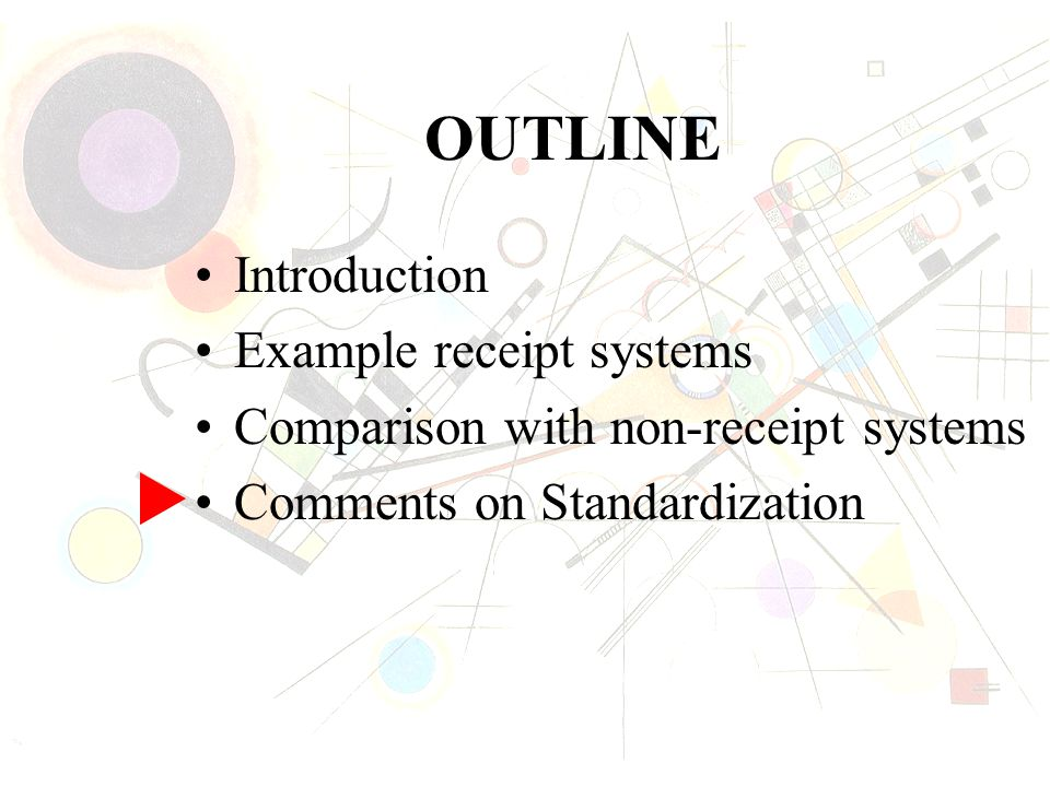 OUTLINE Introduction Example receipt systems Comparison with non-receipt systems Comments on Standardization