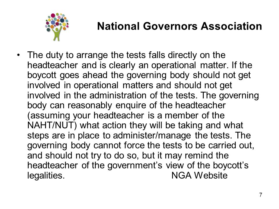 7 The duty to arrange the tests falls directly on the headteacher and is clearly an operational matter.