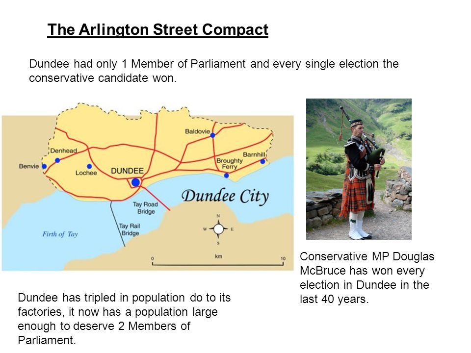 The Arlington Street Compact Dundee had only 1 Member of Parliament and every single election the conservative candidate won. Conservative MP Douglas