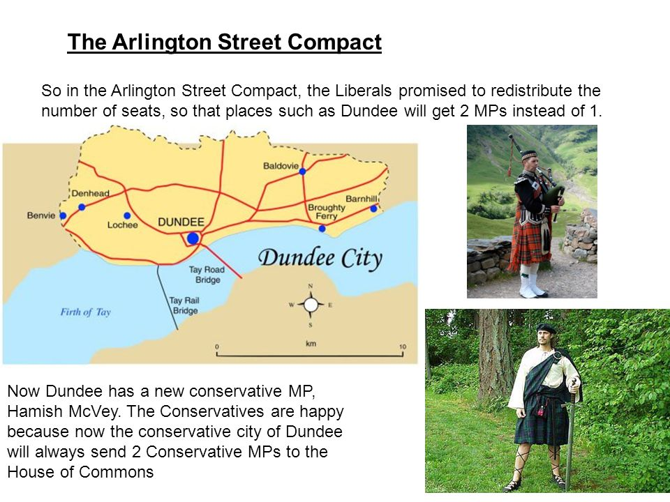The Arlington Street Compact So in the Arlington Street Compact, the Liberals promised to redistribute the number of seats, so that places such as Dun