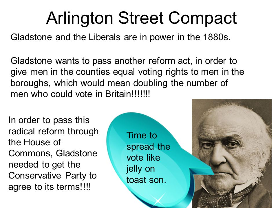 Arlington Street Compact Gladstone and the Liberals are in power in the 1880s. Gladstone wants to pass another reform act, in order to give men in the