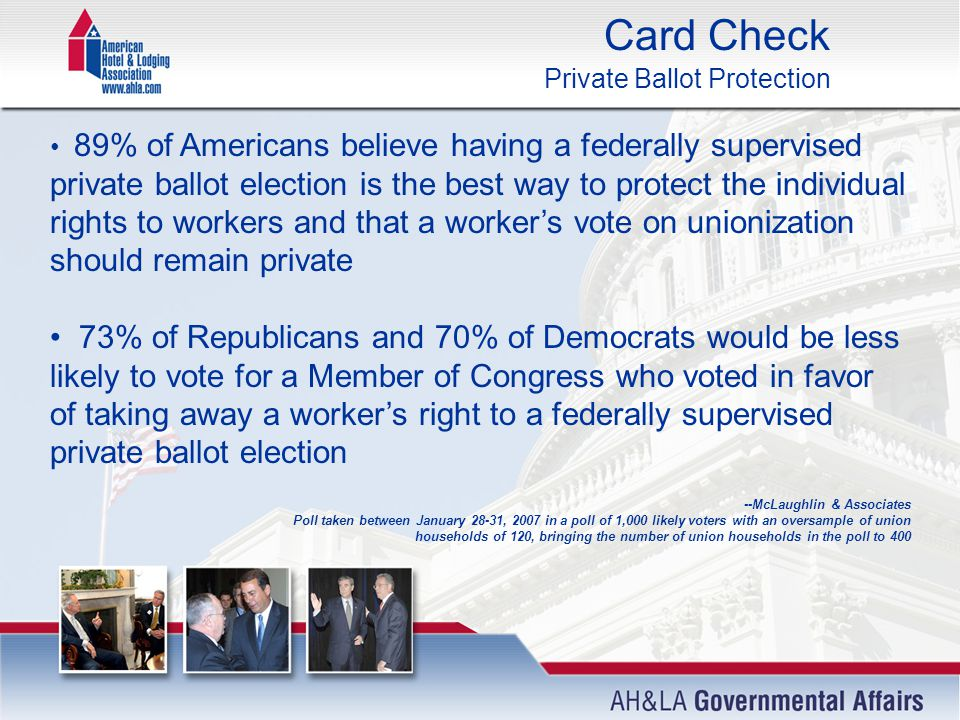 Card Check Private Ballot Protection 89% of Americans believe having a federally supervised private ballot election is the best way to protect the individual rights to workers and that a worker's vote on unionization should remain private 73% of Republicans and 70% of Democrats would be less likely to vote for a Member of Congress who voted in favor of taking away a worker's right to a federally supervised private ballot election --McLaughlin & Associates Poll taken between January 28-31, 2007 in a poll of 1,000 likely voters with an oversample of union households of 120, bringing the number of union households in the poll to 400