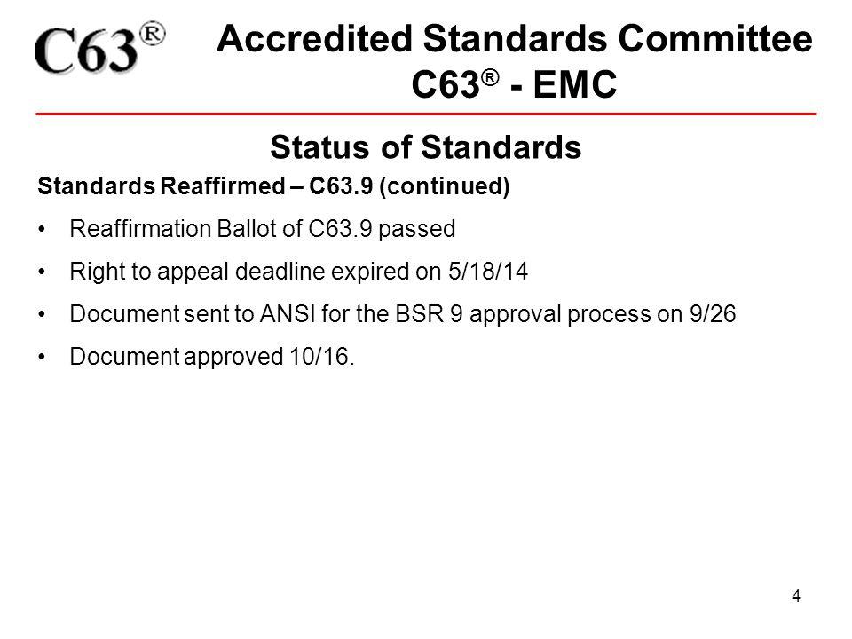 15 Accredited Standards Committee C63 ® - EMC Status of Standards StandardYears OldAction C63.14 (2009).1None C63.9 (2008).1None C63.18.4None C63.4.4PINS C Approved C63.17 (2013)1.2None C63.10 (2013)1.3None C63.23 (2012)1.9None C63.22 (R2012)1.9None C63.19 (2011)3.5None C63.15 (2010)4.7None C63.2 (2009)5.0Revision Planned C63.12 (R2007)7.2Revision in Progress C63.5 (2006)8.7Revision in Progress C63.7 (2005)9.0Revision in Progress
