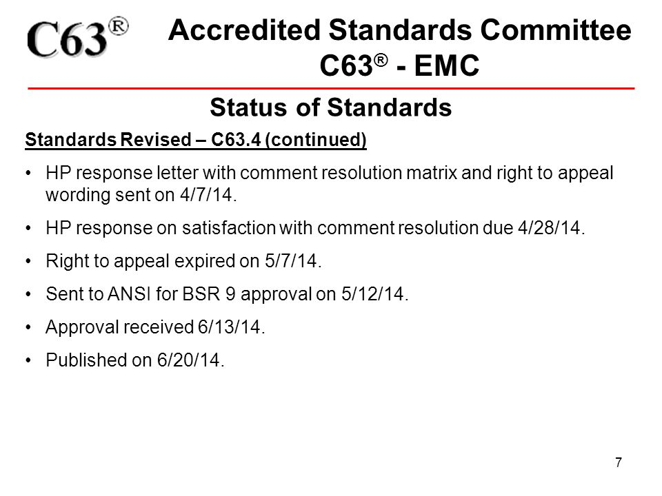 18 Accredited Standards Committee C63 ® - EMC Co-branding of C63 Standards This may also involve the drafting of an MOU/participation agreement between C63 and the sponsor to address items such as Working Group establishment, balloting rules, maintenance of the document, etc.