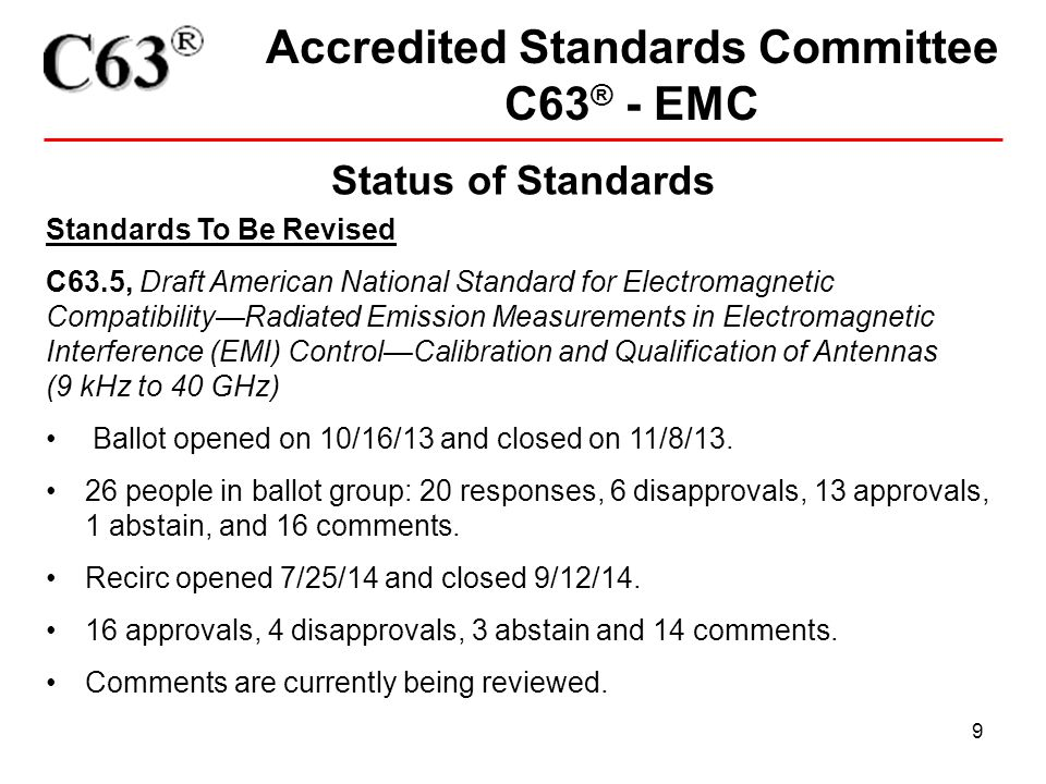 20 Accredited Standards Committee C63 ® - EMC DocumentTotal C63.022-19963 C63.10-2009 Testing Unlicensed Wireless Devices (PDF) 33 C63.10-2013 10 C63.14-2009 ANSI Dictionary Electromagnetic Compatibility (EMC) including (E3) (PDF) 9 C63.15-2010 ANSI Rec Practice for the Immunity Measurement Electrical (POD) 7 C63.16-1993 American National Standard Guide for Electrostatic Discharge Test (PDF) 17 C63.17-2006 Unlicensed Personal Communications Services (UPCS) Devices (PDF) 14 C63.17-2013 4 C63.18-1997 Test Method for Estimating Radiated Electromagnetic Immunity (PDF) 16 C63.19-2006 (Superseded) Measurement of Compatibility between Wireless (PDF) 1 C63.19-2007 Measurement of Compatibility between Wireless Comm.