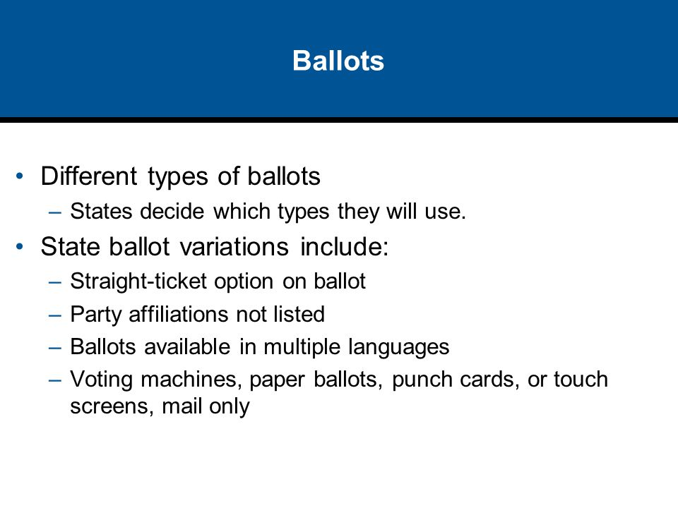 Ballots Different types of ballots –States decide which types they will use. State ballot variations include: –Straight-ticket option on ballot –Party