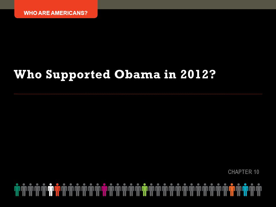 WHO ARE AMERICANS? Who Supported Obama in 2012? CHAPTER 10