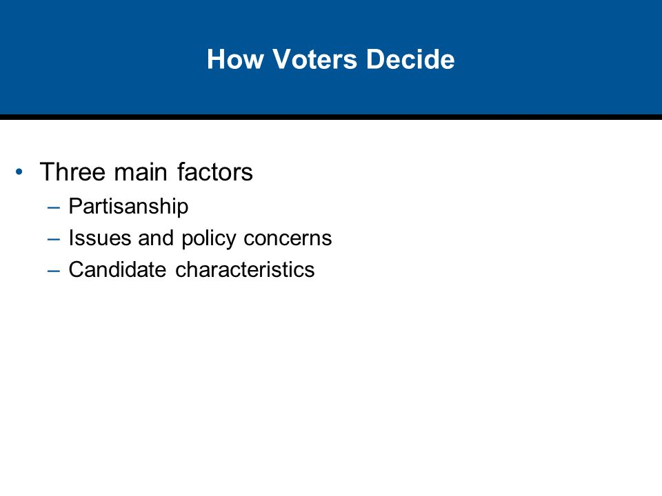 How Voters Decide Three main factors –Partisanship –Issues and policy concerns –Candidate characteristics
