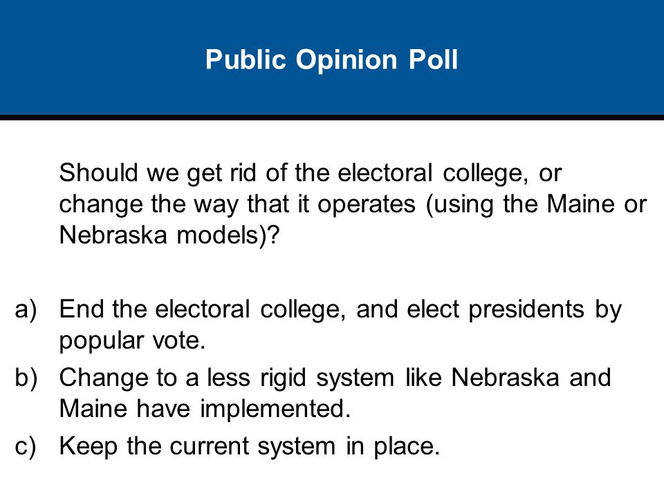 Public Opinion Poll Should we get rid of the electoral college, or change the way that it operates (using the Maine or Nebraska models)? a)End the ele