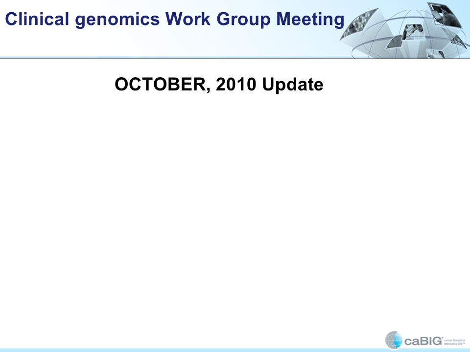 Clinical genomics Work Group Meeting OCTOBER, 2010 Update