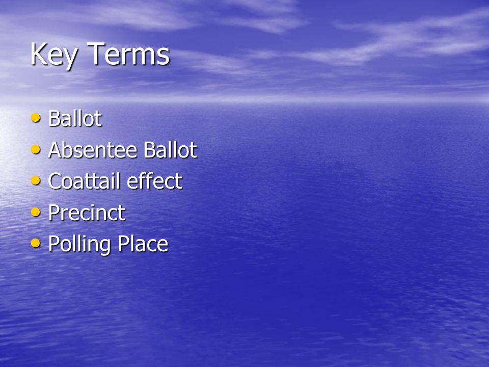 Key Terms Ballot Ballot Absentee Ballot Absentee Ballot Coattail effect Coattail effect Precinct Precinct Polling Place Polling Place