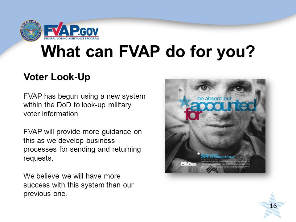 16 What can FVAP do for you.