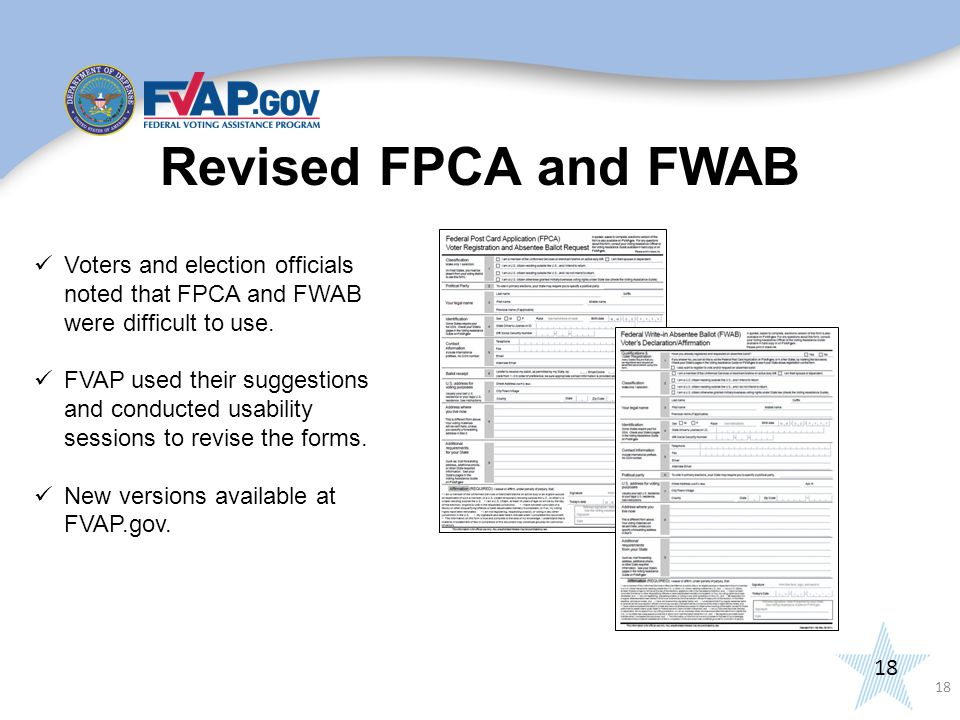 18 Voters and election officials noted that FPCA and FWAB were difficult to use.