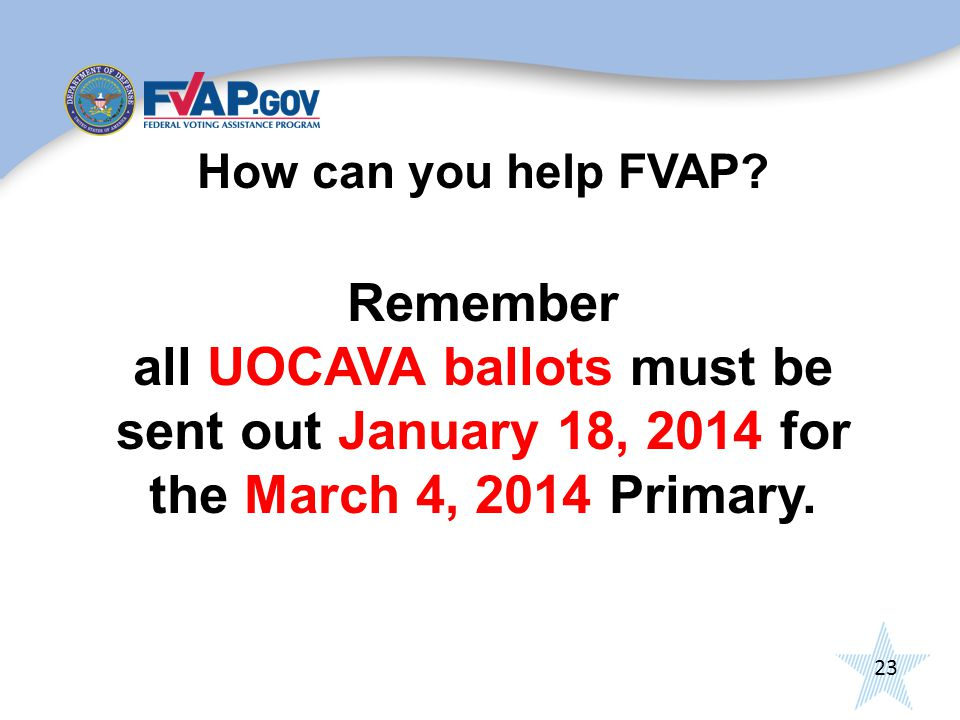 23 How can you help FVAP.