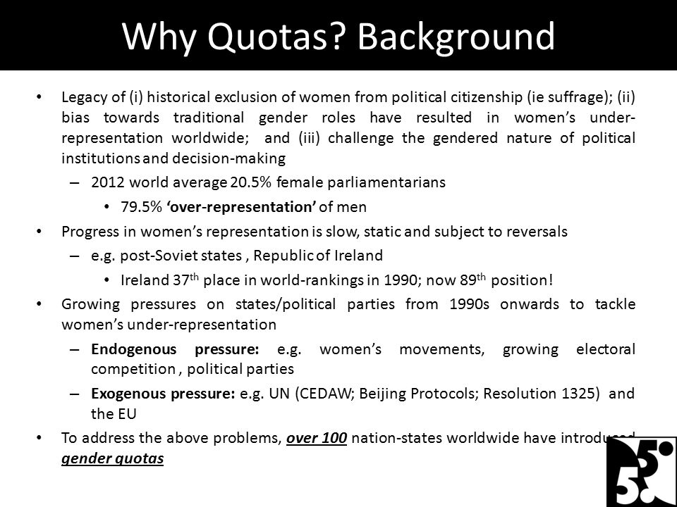 Legacy of (i) historical exclusion of women from political citizenship (ie suffrage); (ii) bias towards traditional gender roles have resulted in wome