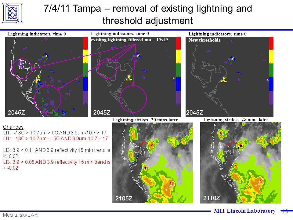 10 7/4/11 Tampa – removal of existing lightning and threshold adjustment 1445Z 2045Z 2105Z Lightning indicators, time 0 Lightning strikes, 20 mins lat