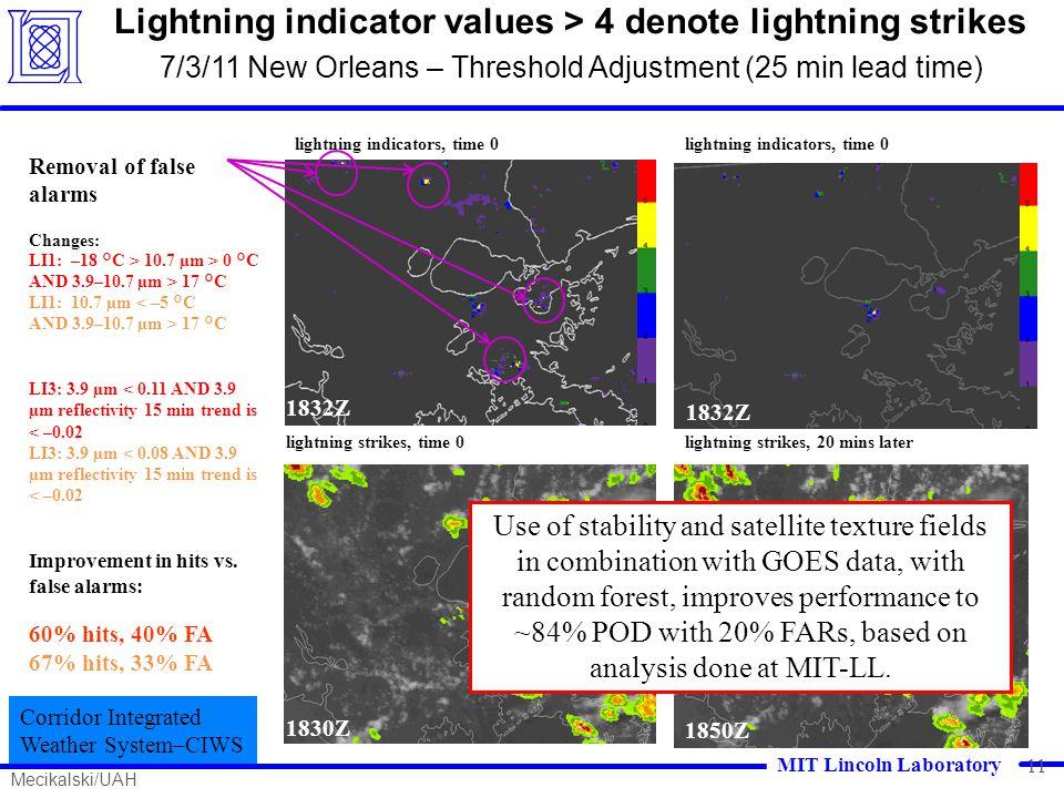1832Z lightning indicators, time 0 1850Z 1832Z lightning indicators, time 0 Removal of false alarms Changes: LI1: –18 °C > 10.7 µm > 0 °C AND 3.9–10.7