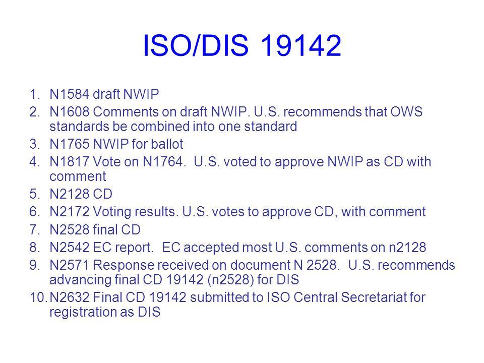ISO/DIS 19143 1.N1585 draft NWIP 2.N1609, n1642 (revised) Result of review of n1585.