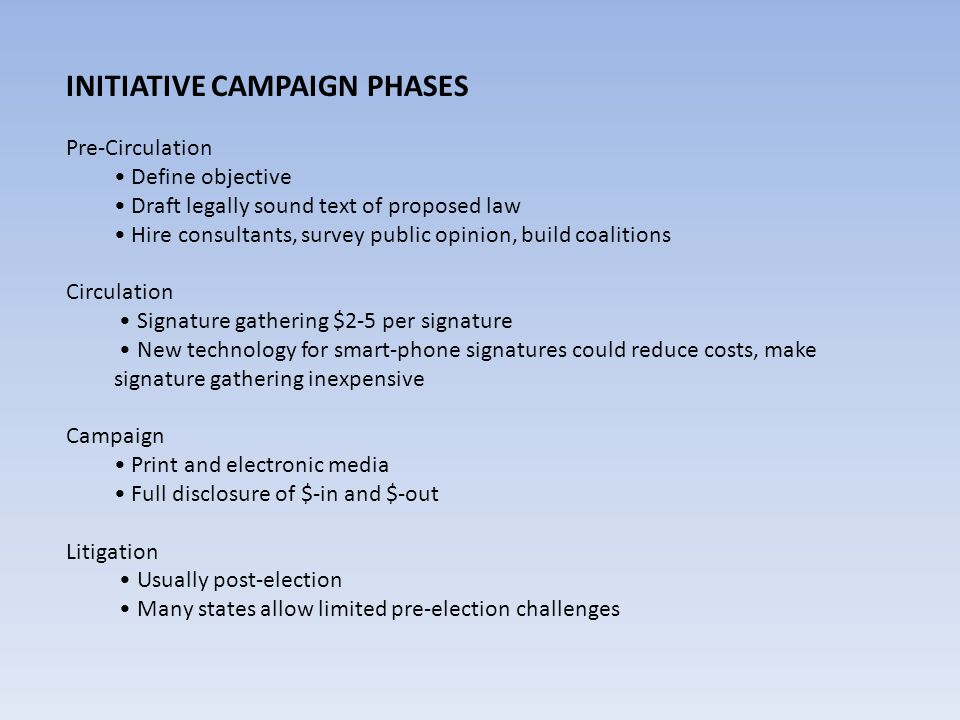 INITIATIVE CAMPAIGN PHASES Pre-Circulation Define objective Draft legally sound text of proposed law Hire consultants, survey public opinion, build co