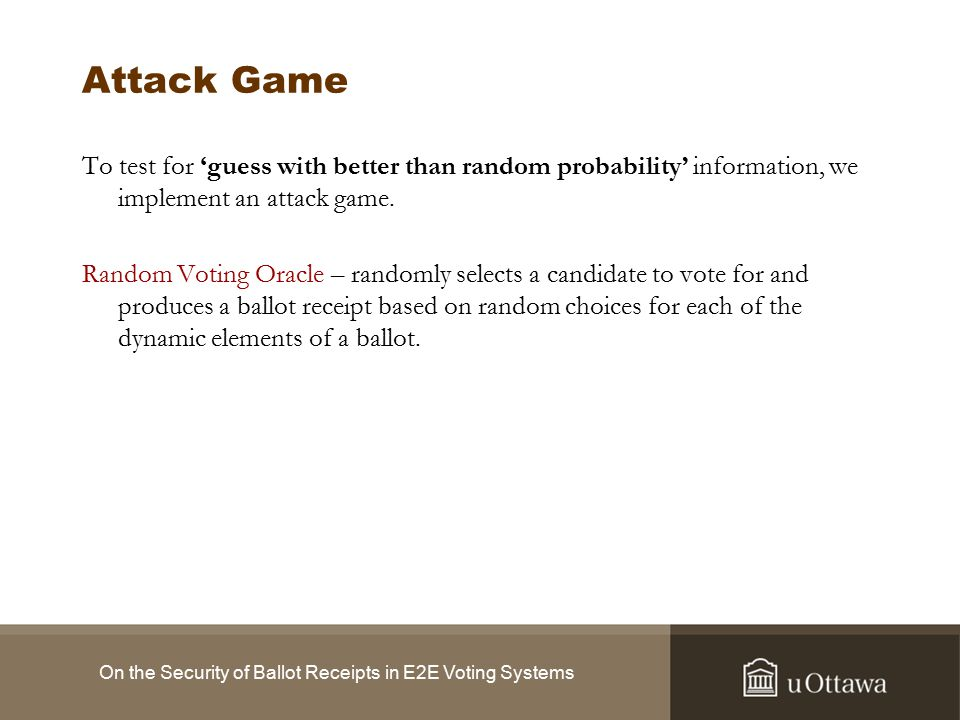 Advantage On the Security of Ballot Receipts in E2E Voting Systems