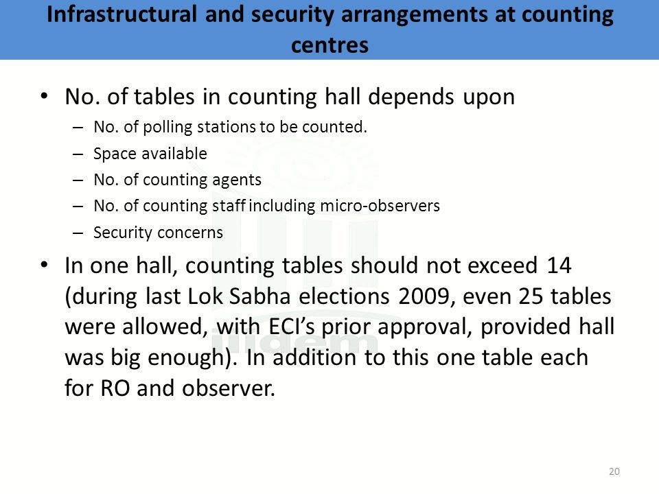 Infrastructural and security arrangements at counting centres No.