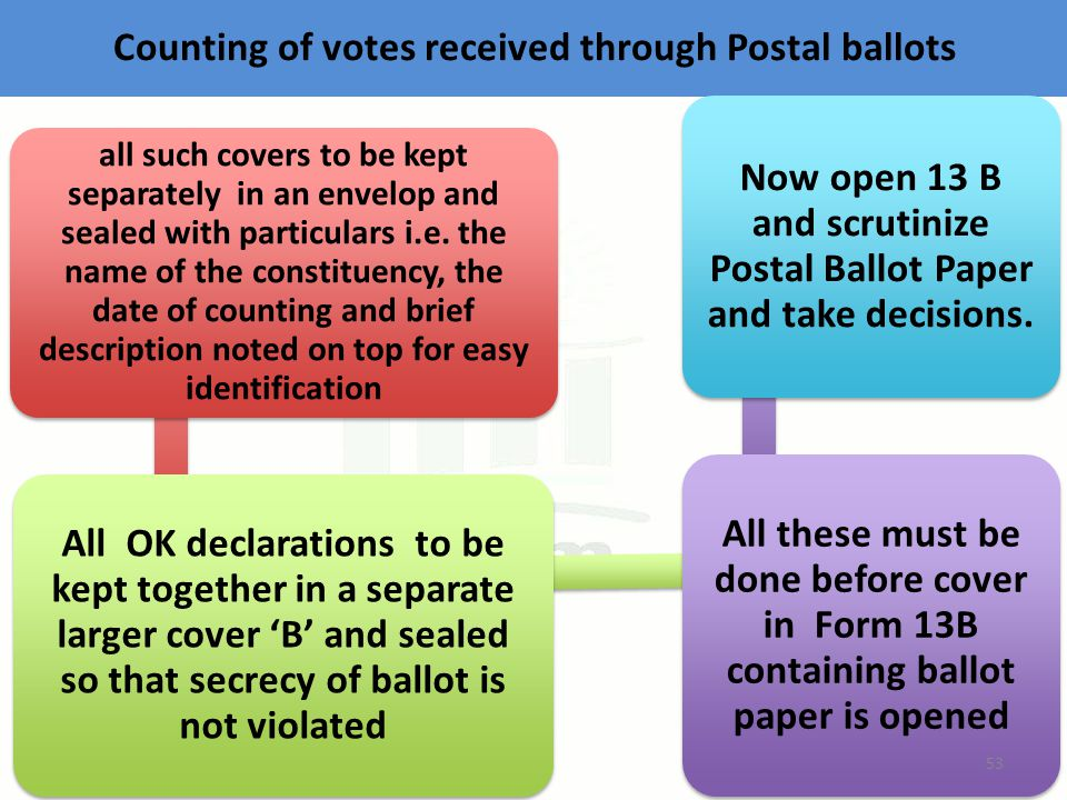 Counting of votes received through Postal ballots all such covers to be kept separately in an envelop and sealed with particulars i.e.