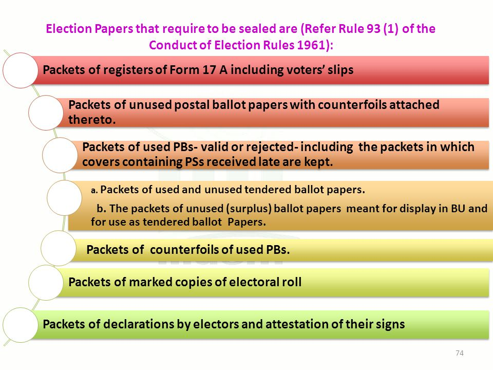 Election Papers that require to be sealed are (Refer Rule 93 (1) of the Conduct of Election Rules 1961): Packets of registers of Form 17 A including voters' slips Packets of unused postal ballot papers with counterfoils attached thereto.