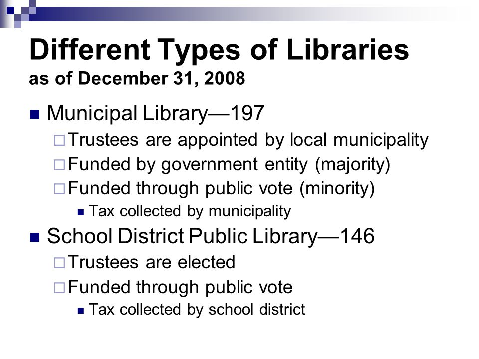 Candidates for trustees must petition and collect at least 25 signatures from qualified voters of the district to be placed on the ballot Conduct an education campaign on why and how much Conduct vote Steps to a Special Legislative District Public Library