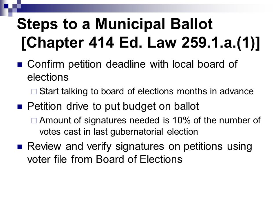 Steps to a Municipal Ballot [Chapter 414 Ed.