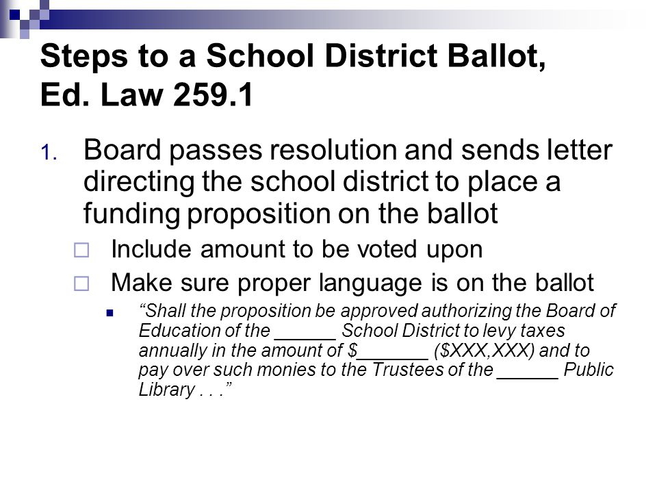 Steps to a School District Ballot, Ed. Law 259.1 1.