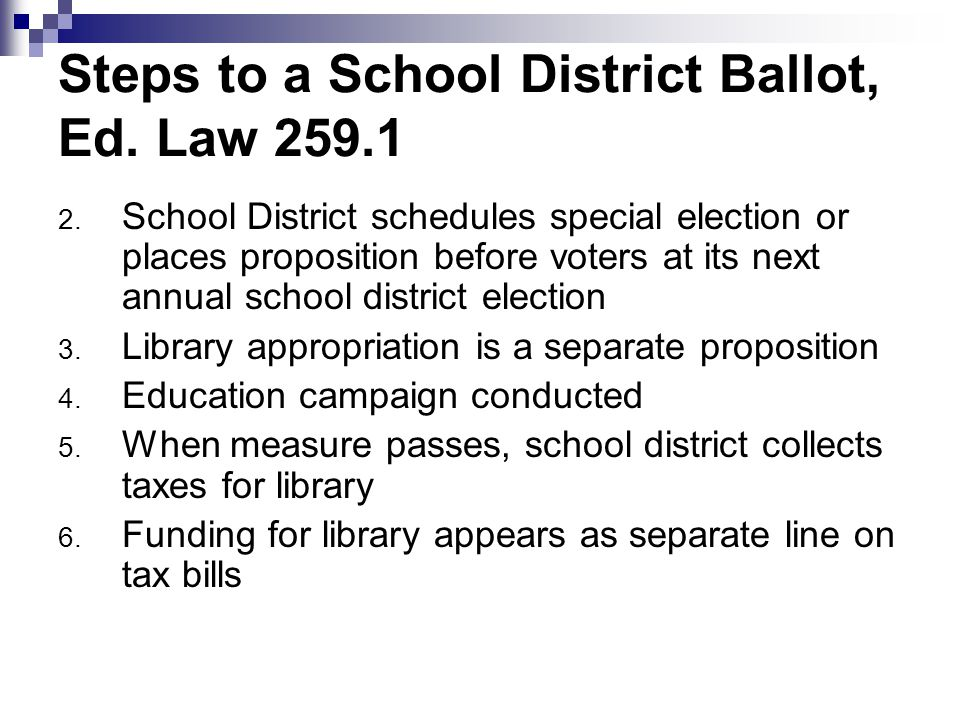 Steps to a School District Ballot, Ed. Law 259.1 2.