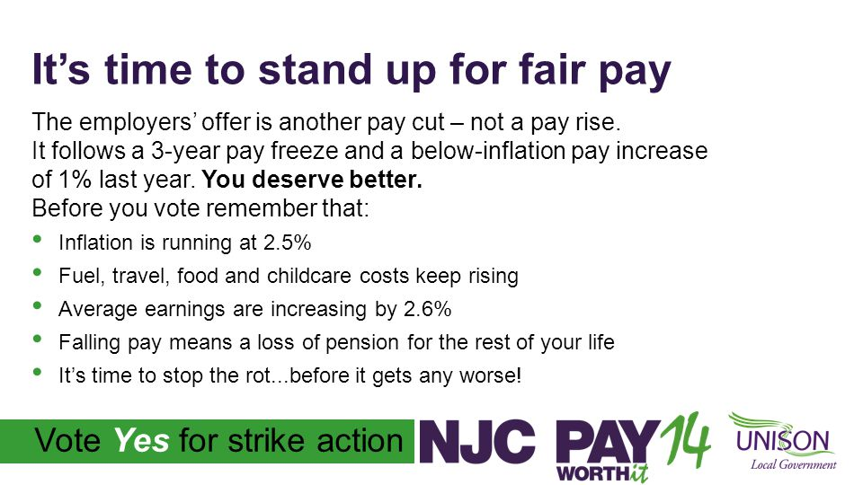 Vote Yes for strike action It's time to vote YES for strike action Don't accept a pay cut for the fifth year in a row.