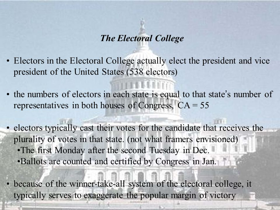 The Electoral College Electors in the Electoral College actually elect the president and vice president of the United States (538 electors) the number