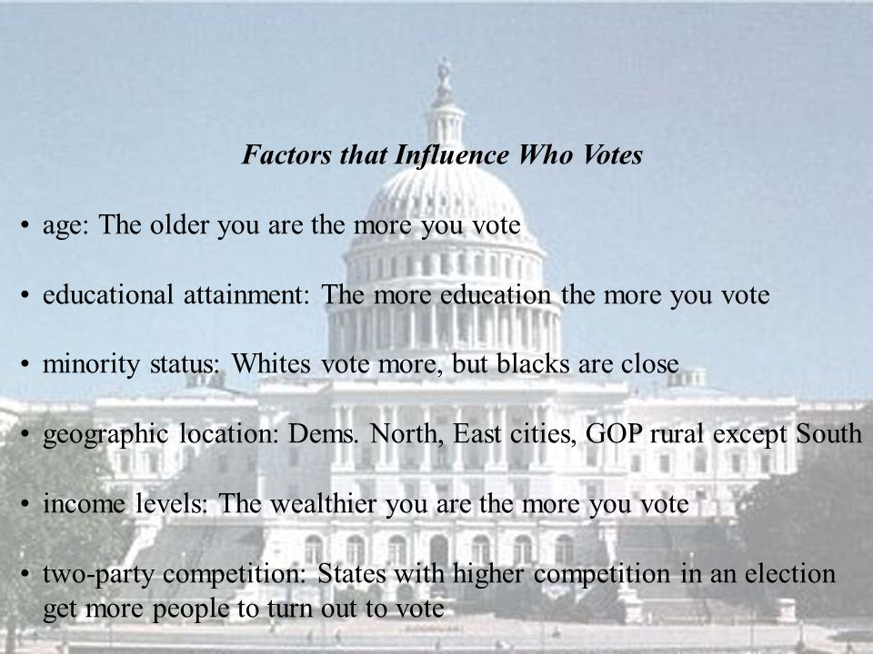 Factors that Influence Who Votes age: The older you are the more you vote educational attainment: The more education the more you vote minority status