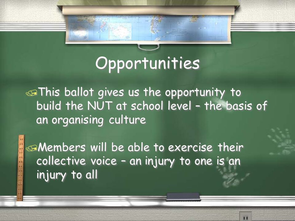 Opportunities / This ballot gives us the opportunity to build the NUT at school level – the basis of an organising culture / Members will be able to e