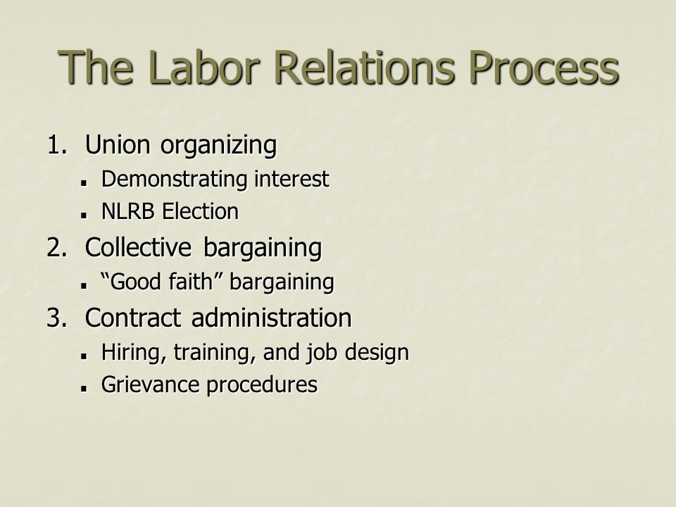 "The Labor Relations Process 1. Union organizing Demonstrating interest Demonstrating interest NLRB Election NLRB Election 2. Collective bargaining ""Go"