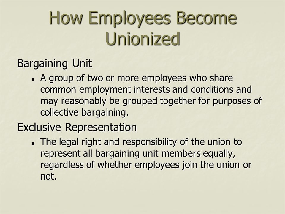 How Employees Become Unionized Bargaining Unit A group of two or more employees who share common employment interests and conditions and may reasonabl