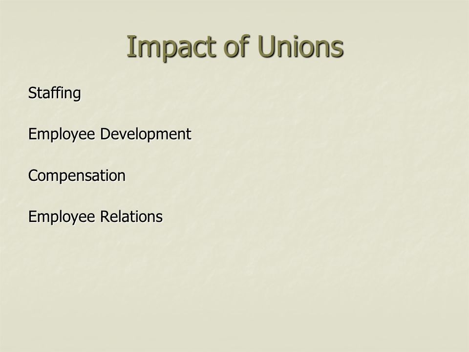 Impact of Unions Staffing Employee Development Compensation Employee Relations