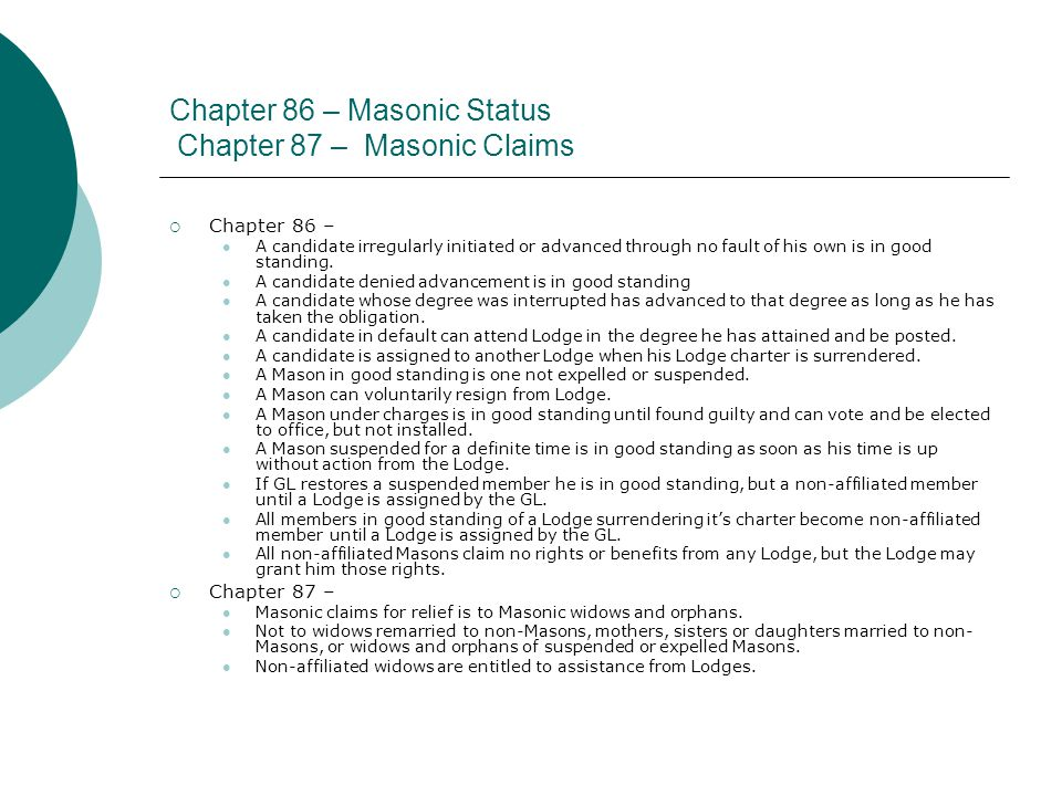 Chapter 86 – Masonic Status Chapter 87 – Masonic Claims  Chapter 86 – A candidate irregularly initiated or advanced through no fault of his own is in good standing.