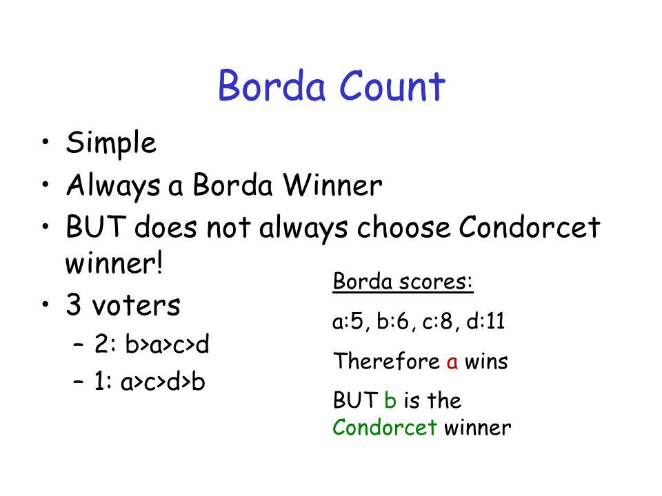 Borda Count Simple Always a Borda Winner BUT does not always choose Condorcet winner.