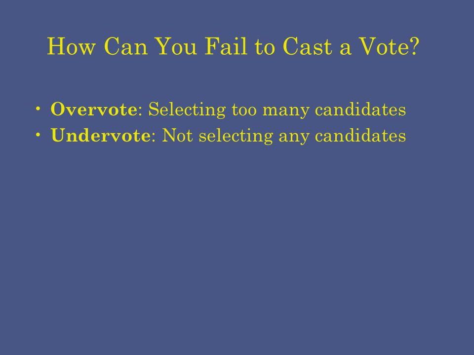How Can You Fail to Cast a Vote.